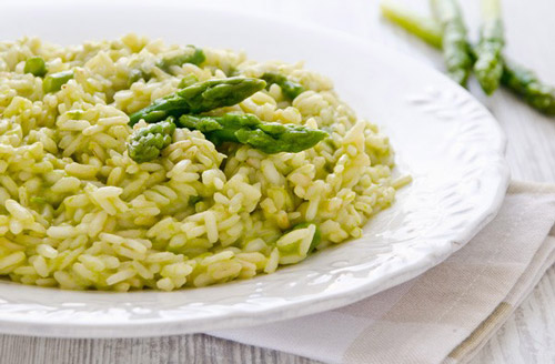 Risotto agli asparago verde scamorza e Prosecco della Valdobbiadene